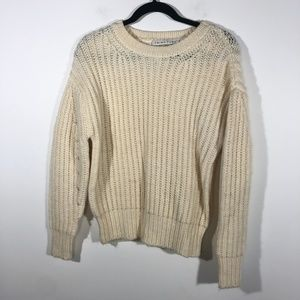 Trina Turk Small Genesis Cable Knit Sweater Ivory